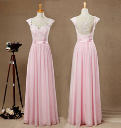 pink princess apple NZ - Pink Lace Top Chiffon Bridesmaid Dress Sweetheart Cap Sleeves Open Back Prom dress Sexy Princess Evening Dress Ball Gown Real Pictures