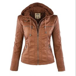 girls jacket rivets 2019 - Wholesale- 2017 Fashion Leather Jacket Women Slim Hooded Biker Motorcycle Jackets Soft Zipper Girl Jaqueta Feminina Chaq