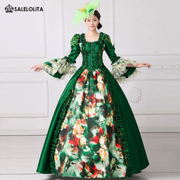 $enCountryForm.capitalKeyWord NZ - 2017 Royal Green Floral Printed Marie Antoinette Dress Medieval Civil War Southern Belle Ball Gowns Women Reenactment Clothing