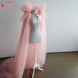 Chapeaux De Cape Bon Marché Pas Cher-Pink Tulle Cape wedding bolero Long Cheap Simple accessoires de mariage Fashion women bolero Bridal Long Jacket