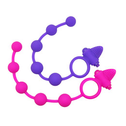 Barato Anel Vibratório Anal-DIBEI Anal Soft Power Beads Vibrating Cock Rings Butt Plug Silicone Waterproof Anal Beads for Couple, Erotic Sexy Products 17402