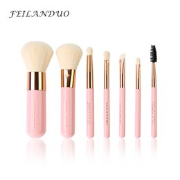Violet wood online shopping - Feilanduo Professional Makeup Brush Set High Quality Make Up Tools Kit Violet Pink Blue Cosmetic Brushes Kit