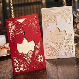 discount blank red invitations 2017 blank red wedding Discount Blank Wedding Invitations white red wedding invitation cards kit with envelopes hollow invitations blank inner page wedding party supplies 10pcs lot discount blank wedding invitations