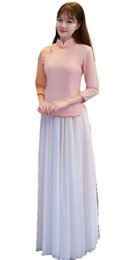 Ankle Length High Neck Wedding Dresses UK - Shanghai Story Chinese Vintage Traditional Clothing Top + Skirt Charming Canton Embroidery Cheongsam Wedding Dress Long Bridal Asian Pink