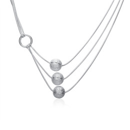 Best Wedding Pendant NZ - best gift Three sand beads sterling silver plate Necklace fit women,wedding 925 silver pendant Necklace with chains EN187