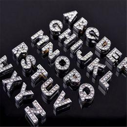 Alphabet Crystal Rhinestone Slider Letter Charm DHL 8mm Silver Bling Number A TO Z Fit Belt Wrist Strap Bracelets Accessories Christmas Gift on Sale