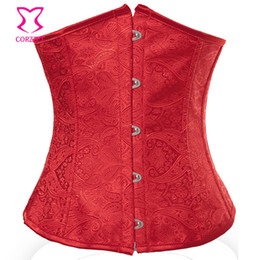 Wholesale gothic clothes resale online - Red Paisley Pattern Bustier Corset Underbust Waist Slimming Corsets Women Corsetto Sexy Espartilhos E Corpetes Gothic Clothing