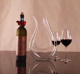 Vente en gros 1 PC 1500 ml Grand cristal carafe de vin rouge à la main mariage vin carafe rouge verre distributeur de vin en forme de carafe Pourers J1102