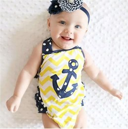 Loaded Clothing Canada - Baby Girl Clothes Kids strap Rompers Toddler infant anchor print jumpsuit strip cotton sailor loading Children clothing