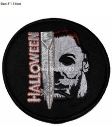 "Embroidered Name Patches Australia - 3"" Halloween Movie Michael Myers Face and Knife Name Patch TV Movie Film Series Applique Costume Embroidered iron on patch"