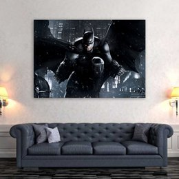 Discount batman dark knight figure - 1 Piece Canvas Art Canvas Painting Batman Dark Knight HD Printed Wall Art Home Decor Poster Pictures for Living Room XA1