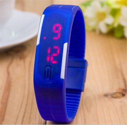 $enCountryForm.capitalKeyWord Canada - 2017Fashion rectangle Bracelet boys girls Touch LED Watch Sport digital men women unisex jelly candy rubber silicone wrist Watch wristwatch