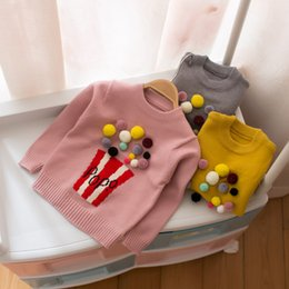 Barato Blusas De Malha-Baby Sweaters Meninas Cute Popcorn Pompon Pullover Sweater Long Sleeve Toddler Kids Knitting Sweater Casual Jumper