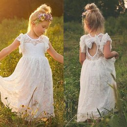 flower girls short lace dresses Canada - Bohemian Flower Girl Dresses For Weddings 2017 Cheap Lace Jewel Short Sleeve Bow Cut Out Back Tea Length First Communion Dress EN4216