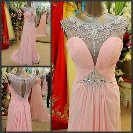 $enCountryForm.capitalKeyWord Canada - Real Image Pare Pink Chiffon Formal Pageant Evening Dresses 2017 Cap Sleeves Sparkly Beaded Keyhole Back Custom Made Formal Prom Party Gowns