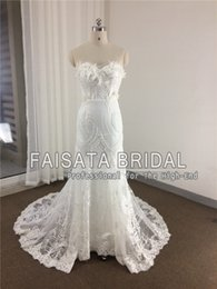Barato Trompete Da Sereia Do Desenhista-Fotos reais New Designer Sweetheart Vintage Lace Mermaid Wedding Dresses 2017 de alta qualidade Plus Size Lace Appliques Trumpet Bride Gown