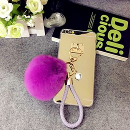 Chains For Mirrors NZ - For Samsung galaxy note 3 4 5 8 Pretty Cute Weave fur ball Pompom Key chain mirror case cover