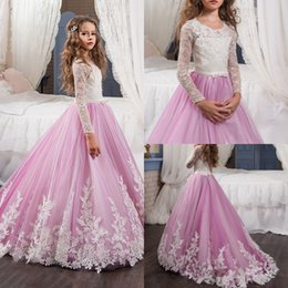 Ceinture À Rayures Pas Cher-2017 Pink Flower Girls Robes Round Neck Long Sleeve A Line Appliques Lace Belt Girls Pageant Dress For Wedding Birthday Party Gowns