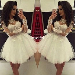 Simple Mini Vestido De Bola Blanco Baratos-Vestido de Baile de Lace White Lace Vestidos de Homecoming corto Simple mangas largas Mini Cocktail Party Gowns Tulle 8 de Graduación Prom Graduación 2017