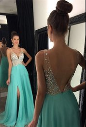 prom dress chiffon slit crystal Australia - Beautiful Mint Green Chiffon Prom Dresses Plugging V-neck Crystal Beaded Evening Dresses Front Slit Illusion Shoulder Low Back Formal Part