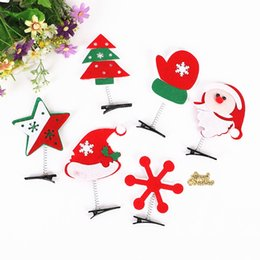 Accessoires Pour Cheveux Noel Santa Pas Cher-Décoration de Noël Hair Flowers Santa Claus Snowman Headwear Kids Hairpin Girls Clips de cheveux de noël Party Hair Accessories B0983