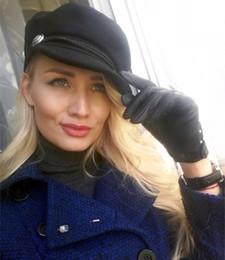 Wholesale Wholesale- Fashion Beret Women Octagonal Cap Black Wool Newsboy Cap for Women Men Lady Autumn Winter Hats Caps