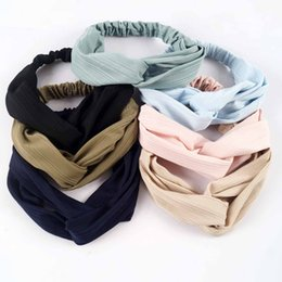 Étirement En Gros Pas Cher-Vente en gros Baby Kid Soft Headband Cross Designer Stretch Headbands Head Wraps Turbans Pour Ados Accessoires pour cheveux tout-petits