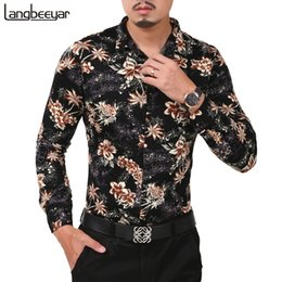 Wholesale slim fit high collar shirts for sale – dress New Fashion Casual Men Shirt Long Sleeve Flower Color Slim Fit Shirt Men Turn Dwon Collar High Quality Mens Dress Shirts