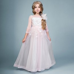 Prix ​​de La Robe Des Enfants Pas Cher-Cheap Price Girls Graduation Gown Kids Tulle A Line 3/4 Sleeves Toddler Pageant Dress Custom Made Flower Girl Dresses pour les mariages