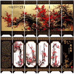 bamboo screening Canada - Antique screen six gold bottom fan Primula map business gifts ethnic handicrafts gift