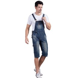 Chinese  Wholesale-Summer Men`s Denim Shorts Overalls Vintage Washed Multi-Pockets Jean Jumpsuit For Men Big and Tall Plus Size manufacturers