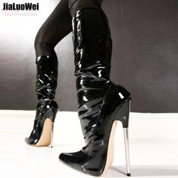 $enCountryForm.capitalKeyWord Canada - Free Ship 18cm Customized Black Women Boots Winter Shoes Woman Pointed Toe Platform High Heeled Knee-High Long Boots Plus Size side zipper