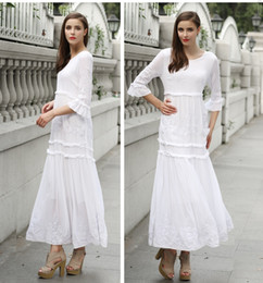 65c79c449273 long sleeve 2017 new hot Women dresses Bohemian Vintage Ethnic Flower  Embroidered Cotton Tunic Long White Maxi Dress Hippie Boho Asymmetric