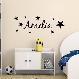 Pattern Decor Canada - Stars Pattern Kids Personalized Name Bedroom Vinyl Wall Decor Removable Art Vinyl Sticker for Kids Nursery Room Wall Decal