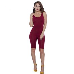China Wholesale- 2016 Summer Rompers women Jumpsuits Bodysuits Sleeveless Round neck Bodycon One piece Shorts Sexy Rompers Plus size S-XL -20 cheap jumpsuit sexy suppliers