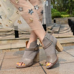 $enCountryForm.capitalKeyWord Canada - western punk style open toe genuine leather women chunky heel shoes spring summer ankle boots buckle strap brown grey booties women shoes