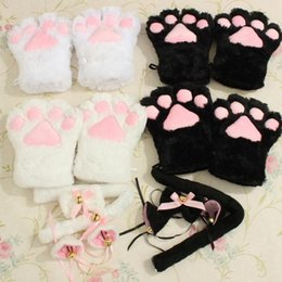 Ensemble De Queue D'oreille De Chat Pas Cher-GROSSES SOLDES!!! 1 Set Girls Anime Cosplay Costume Cat Ears + Gants Paw Paw + queue Bow-tie + Cat's tail