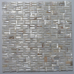 kitchen wall backsplash NZ - 10x20mm Semicolumn shape, brick pattern, natural color Mother Of Pearl shell mosaic , bathroom washroom wall tile; kitchen backsplash #MS129