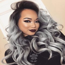 $enCountryForm.capitalKeyWord Australia - Fashion Body Wave Synthetic Lace Front Wig Black Grey Two Tone Ombre Synthetic Lace Front Wigs Ombre Grey Wavy Hair Wigs For Black Women