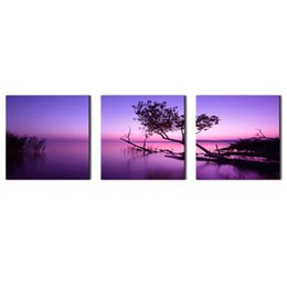 $enCountryForm.capitalKeyWord UK - 3 Panels Landscape Picture Purple Wall Art Painting Purple Lake Tree Picture Prints On Canvas with Wooden Framed for Home Decoration