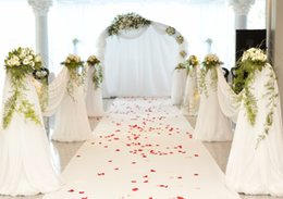 white rose painted red NZ - Romantic White Carpet Wedding Backdrops Red Rose Petals Soft Valance Green Leaves Flowers Booth Backgrounds 10x8ft