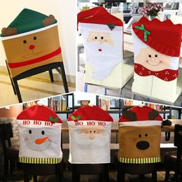 Christmas Decorations Santa Claus Red Hat Snowman Elk Chair Back Covers Xmas Gift Dinner Decoration Party Supply Cloth