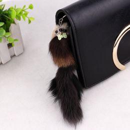 "China Pom Pom Car Keychain Handbag Key Ring 7.87""*1.97"" Adorable Fox Fur 3D Squirrel Girl Children Gift FBA Drop Shipping C97Q suppliers"