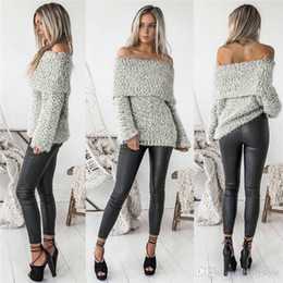 wholesale ruffled sweater Canada - New Fashion 2017 Sexy Autumn Winter Women Pullover Sweaters Tops Long Sleeve Slash Neck Sloid Off Shoulder Female Loose Sweate DHL MTL170909