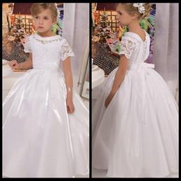 White Communion Dresses Short Australia - Vintage Scoop Short Sleeve First Communion Dresses For Girls first communion White Long Flower Girl Dresses For Weddings