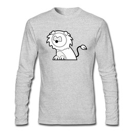 boys painted shirts 2020 - Plus Size Cute Soft T-shirts Lion Sketch Painting Shirts For Men Boys Casual Outdoors Long-Sleeved T-shirts cheap boys p