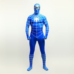 $enCountryForm.capitalKeyWord UK - Hot Sale 2017 Blue Superhero Spider-man Cosplay Full Body Costumes Lycra Spandex Zentai Suit For Halloween