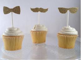 $enCountryForm.capitalKeyWord Australia - Custom personality 30pcs Glitter Moustache Glasses Bow Tie cupcake toppers Wedding Food Picks Bridal shower Bachelorette party decorations