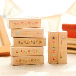 online shopping vintage strip wooden rubber stamp Kids DIY Handmade Scrapbook Photo Album students Stamps Arts Crafts gifts