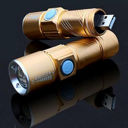 Wholesale FC-17 Rechargeable USB Flashlight 3-Mode Mini LED Flashlight Waterproof USB Zoomable Lamp Built-in 16340 Battery Lanterna outdoo Camping